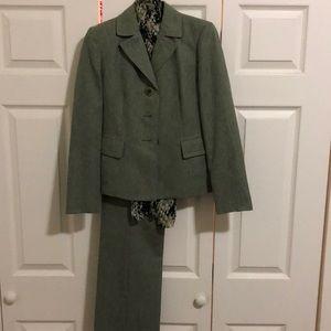 Kasper Pants Green Womens Pant Suit Matching Scarf Poshmark